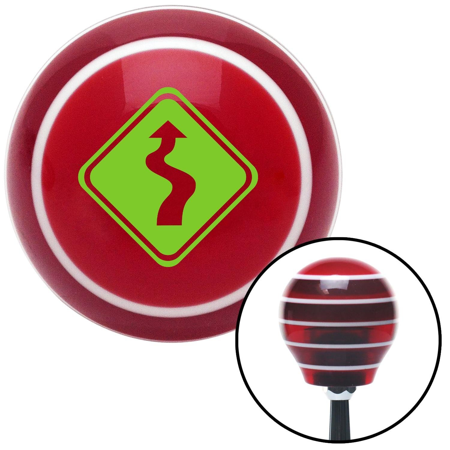 American Shifter 119236 Red Stripe Shift Knob with M16 x 1.5 Insert Green Curvy Road