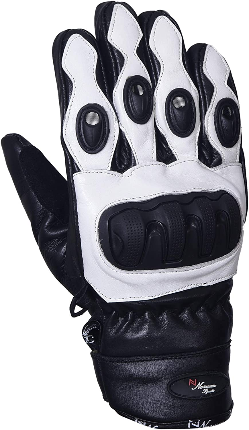 Short Leather Knuckle Protection Motorbike Motorcycle Gloves White Leather