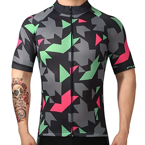 FUALRNY Men s Classic Short Sleeve Cycling Jersey Biking Clothes Size XS 9fbdc7b8e