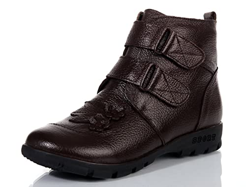 KOUDYEN Invierno Zapatos Antideslizante Boots Botines Botas de Nieve Cuero Para Mujer,XZ010-brown-EU36: Amazon.es: Zapatos y complementos