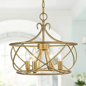 Ksana Antique Gold Chandelier Modern Drum Light Fixture For Dining Living Room Bedroom Foyer And Kitchen Amazon Com