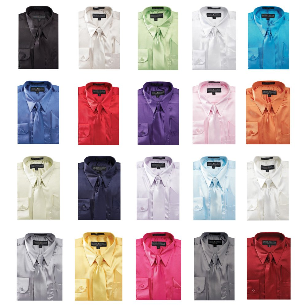 Sunrise Outlet Boy's Satin Dress Shirt with Matching Tie and Hanky Set NTP-BS3010P2