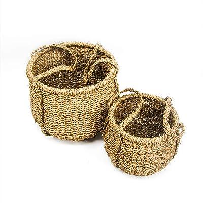 Trademark Innovations Tall Woven Seagrass Planter Basket (Set of 2) : Garden & Outdoor