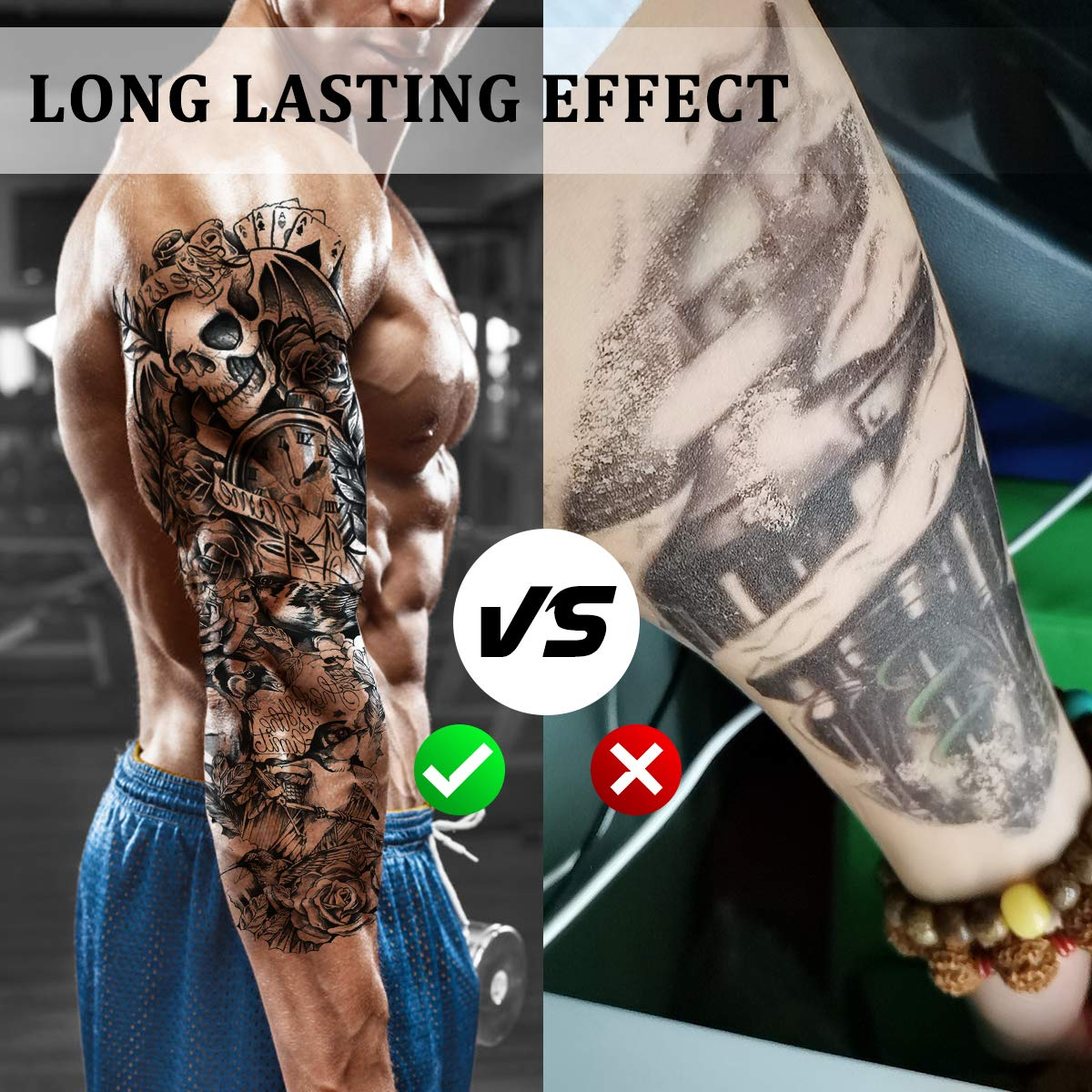 Temporary Tattoos, Full Arm and Half Arm Sleeves Temporary Tattoo 18 Sheets Black Body Tattoo Stickers For Halloween Party