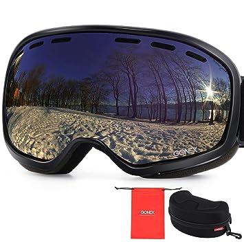 7fc8387ff077 Gonex Ski Goggles Large Size Black Frame Blue Lens