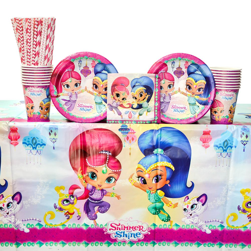 Shimmer and Shine Party Supplies Pack for 16 Guests: Straws, Dessert Plates, Beverage Napkins, Cups, and Table Cover
