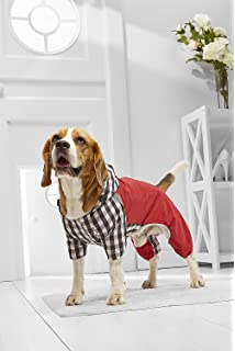 Small Dog Plaid Raincoat For Mini Schnauzer Jack Russell Boston Terrier Frenchie