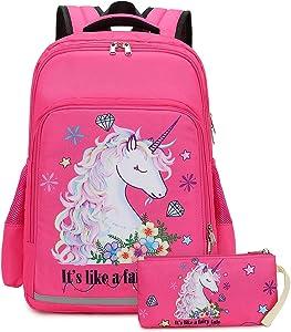 Girls Backpack Elementary Kids Fairy Bookbag Girly School bag Children Pencil Bag (Rosy - Fairy tale unicorn 2pcs)