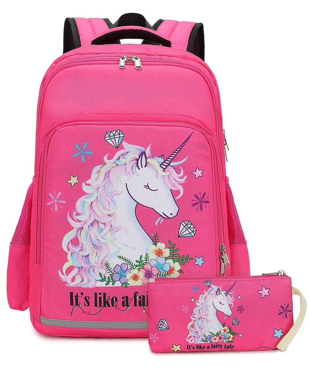 Girls Backpack Elementary Kids Unicorn Bookbag Girly School bag Children Laptop Bag (Rosy) by BTOOP