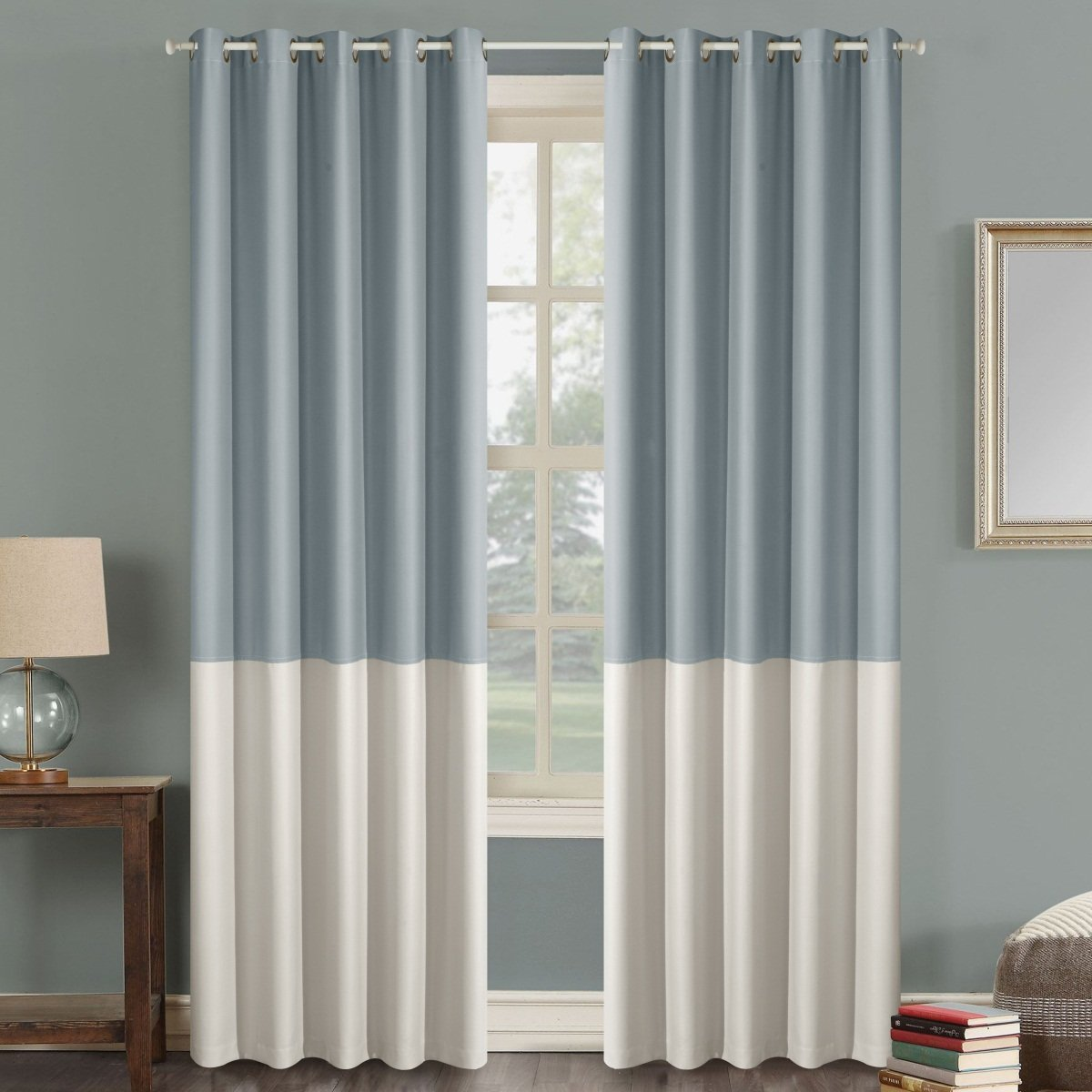 Dreaming Case Stitching Style Two Tone Curtains Color Block Curtains 100'' Wide Blackout Wide Panel Curtains Light Reducing Window Treatment Grommet Top 2 Panels Light Grey & Ivory 100'' W x 102'' L