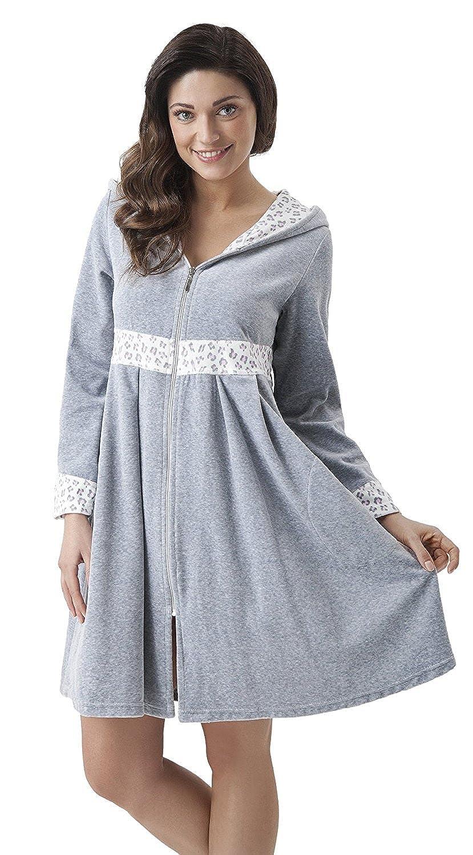 DOROTA fine, elegante, accappatoio di cotone con cappuccio e pratica chiusura lampo