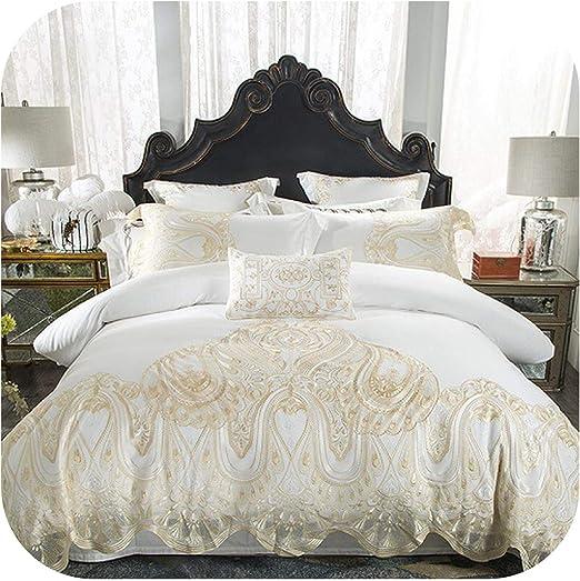 MAC-GIrl - Juego de sábanas de algodón Egipcio de Encaje Blanco ...
