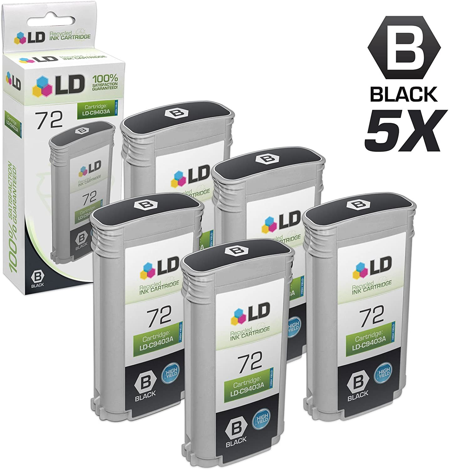 LD Remanufactured Ink Cartridge Replacement for HP 72 C9403A High Yield (Matte Black, 5-Pack)
