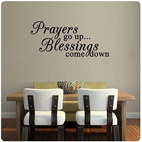 Prayers Go Up Blessings Come Down Religious Wall Decal  Black (36u0026quot; ...