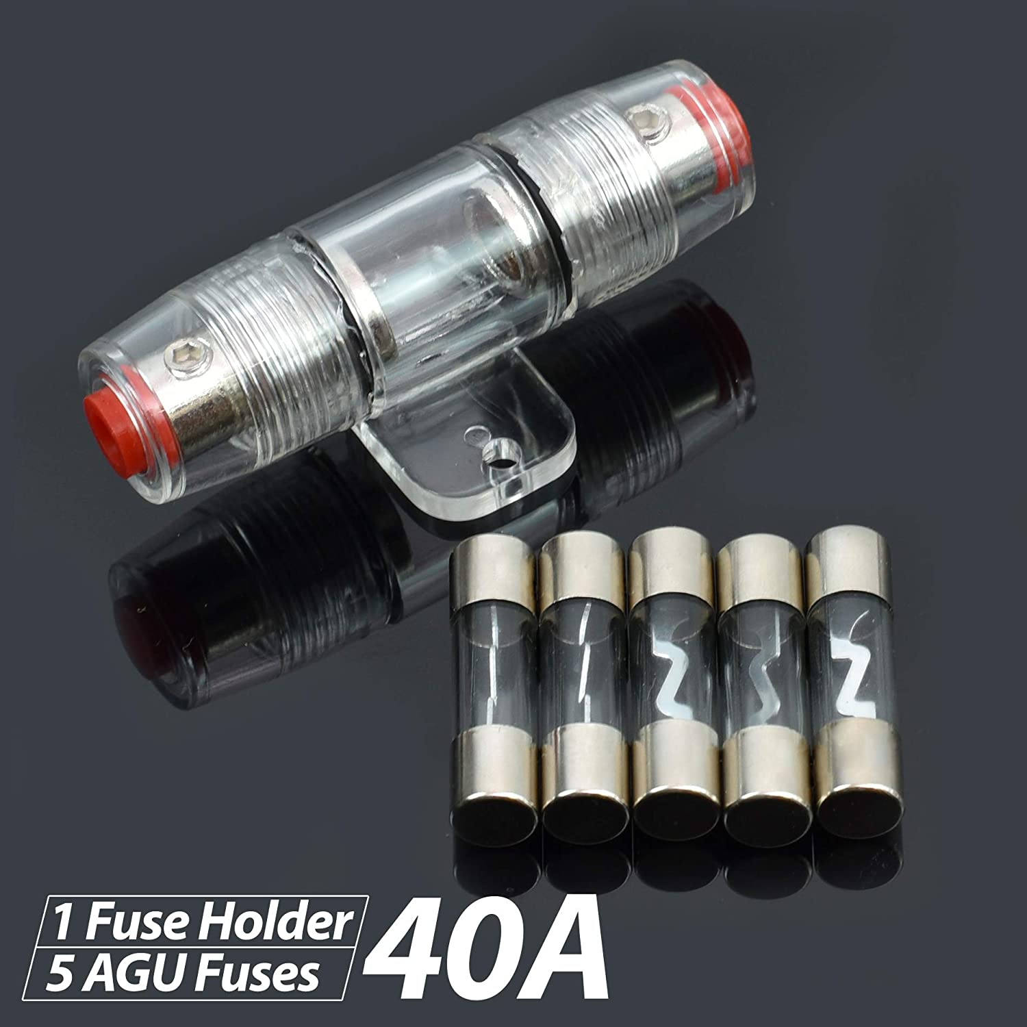 80 Amp Conext Link FHZ1U80-5 1pc 4 8 AWG AGU Fuse Holder with 5pcs Fuses Zinc Die Cast Nickel Plated