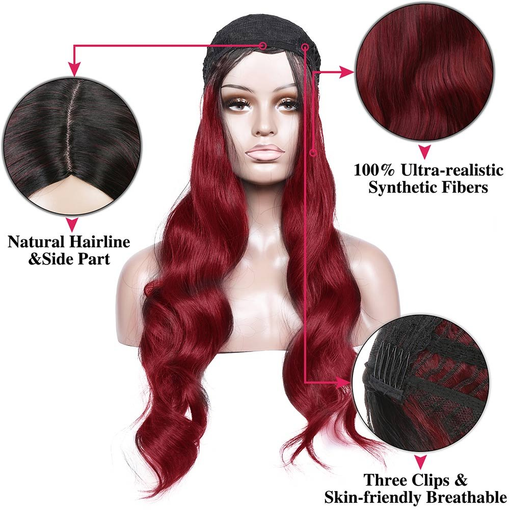 Armmu 28'' Red Ombre Long Body Wave Hair Full Wigs No Lace Wigs for Women 100% Synthetic Hair Burgundy Black Roots Wig (OTBUG) by Armmu (Image #4)