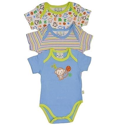 a147f2aa8 Duck Duck Goose Baby Boys Blue Monkey Sport Print 3 Pc Bodysuit Set 6M:  Amazon.in: Baby