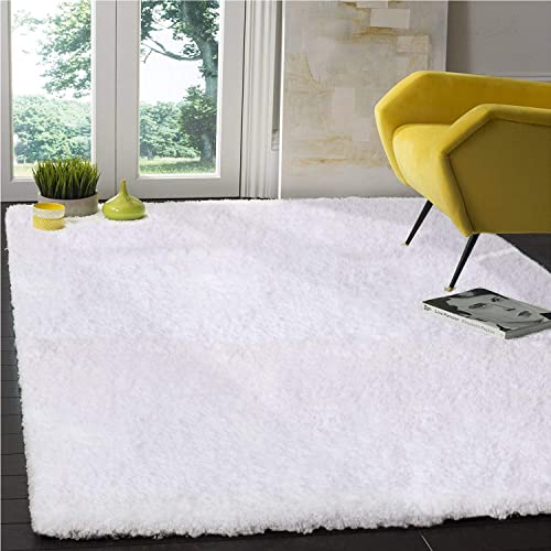 LOCHAS Tufted Shag Collection Living Bedroom Soft Shaggy, Snow-White, Area Rug 5 x 7.2