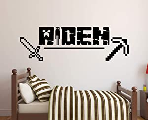Personalized Video Gamer Name Wall Decal - Gaming Wall Decal - Bedroom Kids Wall Decor Custom Boy Art Mural Vinyl Sticker (30