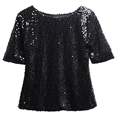 02bbfe8ca4bb24 Fairviewer Women Short Sleeve Sequins Embellished Sparkle Tunic Blouse  Shirts Tops at Amazon Women's Clothing store:
