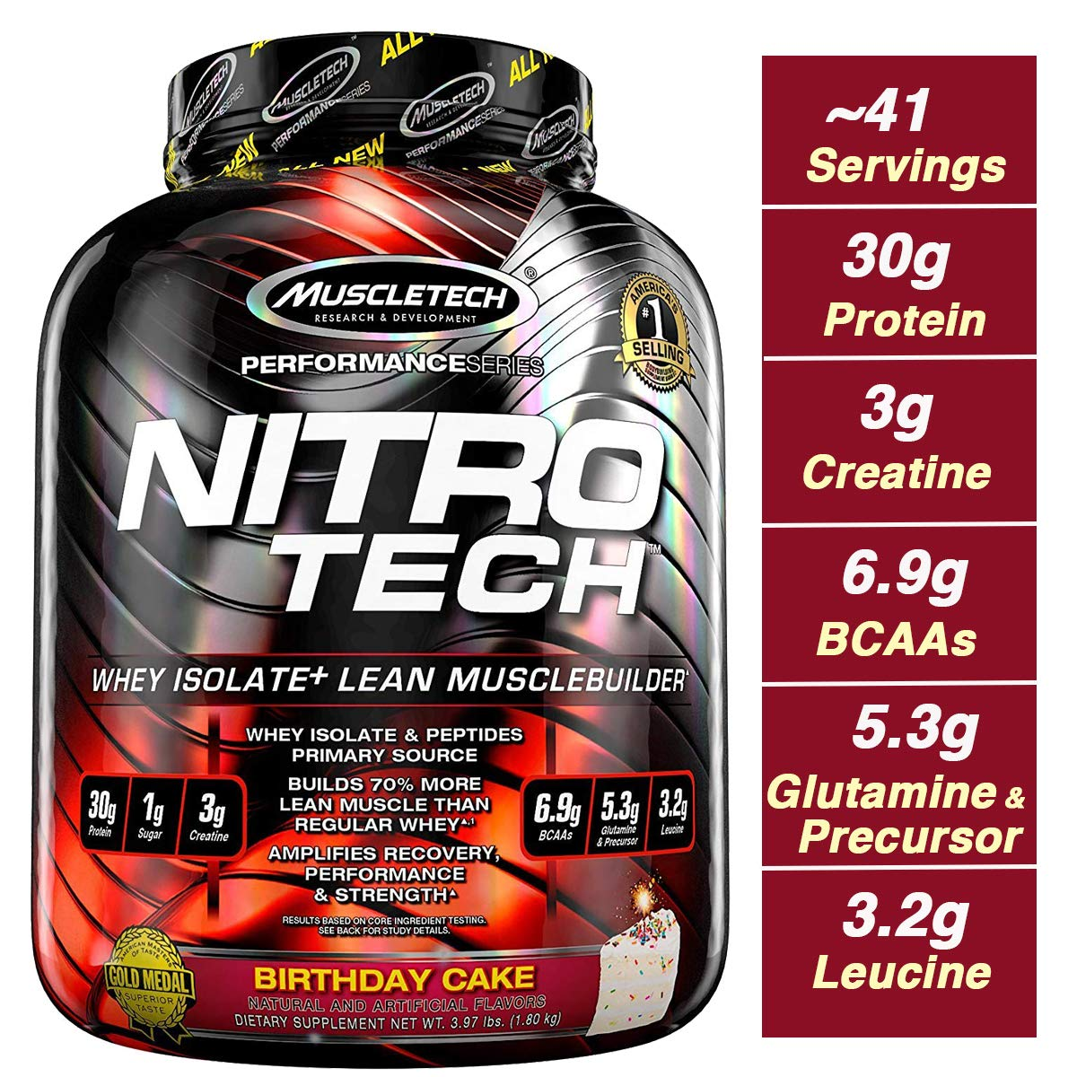 MuscleTech NitroTech Protein Powder Plus Muscle Builder, 100 Whey Protein with Whey Isolate, Vanilla Birthday Cake, 40 Servings 3.97lb