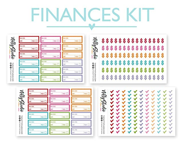 Finance Money Sticker Bundle | Planner Sticker Kit | The Nifty Studio | Planner Stickers | Stickers for planners | Calendar Stickers | Agenda Stickers ...