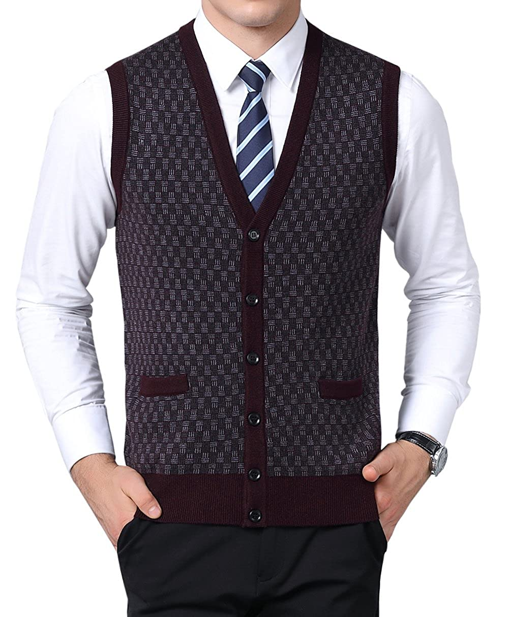MYMYU Mens Winter Warm V-Neck Sleeveless Vest Classic Business Gentleman Knitwear Waistcoat Sweater Wool Tank Tops Gilet with Buttons