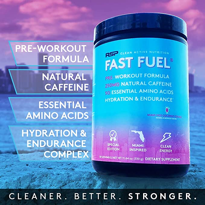 RSP Fast Fuel - Pre Workout Powder, Energy, Endurance, Hydration with Natural Caffeine, Electrolytes, EAAs, Beta Alanine, Creatine, Arginine (30 Servings) (Miami Vice Coconut Colada): Amazon.co.uk: Health & Personal Care