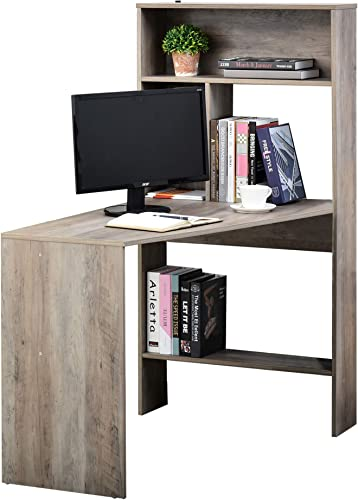 HOMCOM Nordic Style Wooden Computer Desk Workstation PC Laptop Writing Table with Hutches Storage Shelf Grey