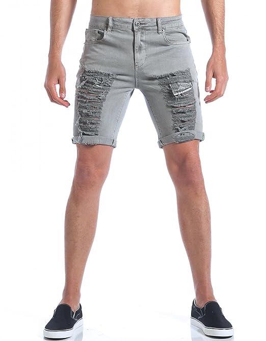 Uomo Grigio Casual Jeans Corti Shorts Bermuda Pantaloni Strappi xOSEUnw