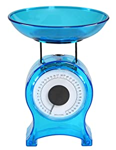 "HOME-X Blue Kitchen Scale, Small Mechanical Scale for Weighing Food Portions up to 35 oz, Analogue, Simple to Use, No Battery- 6"" H x 4.5"" W"