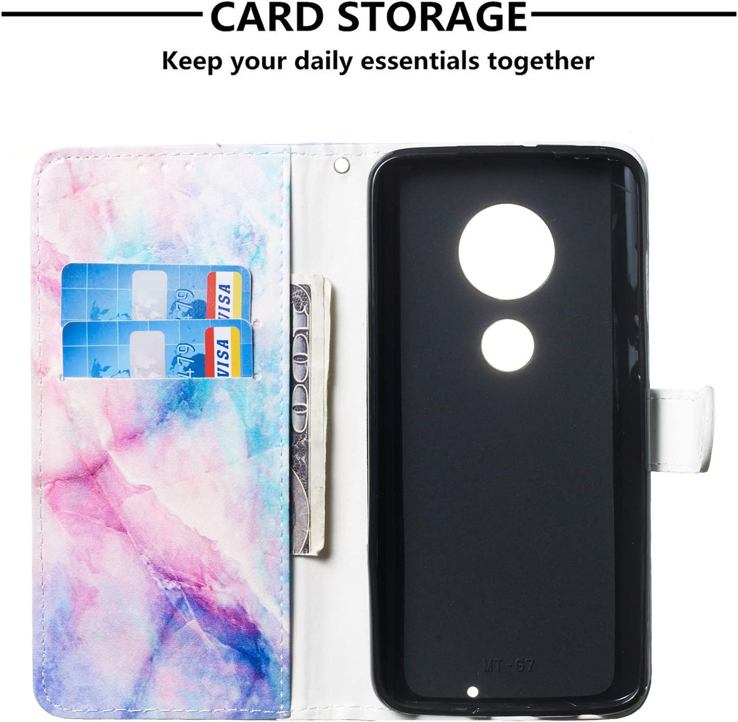 ShinyCase Moto G7 Play PU Leather Case Flip Wallet Book Style Magnetic Closure Holder Folio Stand Function Cover Card Slots Shell Shockproof Protection Bumper for Motorola Moto G7 Play Cartoon Cat