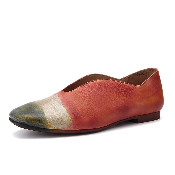 Mocasines de Mujer en Piel auténtica y Color Mixto Zapatos Planos de Suela Blanda Vintage Primavera y Verano: Amazon.es: Zapatos y complementos