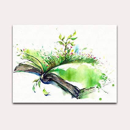 Purple Verbena Art Hand Painting Watercolor Green Book Pictures Abstract Artwork Canvas Print Wall Art For Birthday Gift Kid S Room School Office Bar