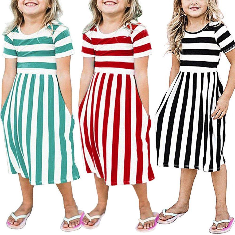 6f070eef093b Amazon.com  Lurryly Toddler Baby Girls Striped Dress Party Beachwear ...