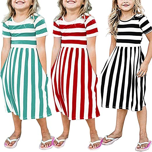 Lurryly Toddler Baby Girls Striped Dress Party Beachwear Dresses Outfits  Sundress 6-9T (Size 813108e1f7f5