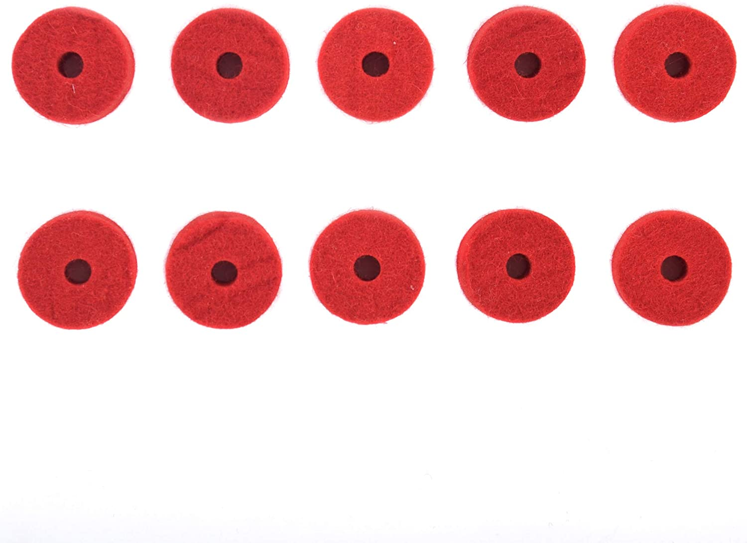 RED WOOL CYMBAL FELTS 10 PACK 1.5 X 0.5