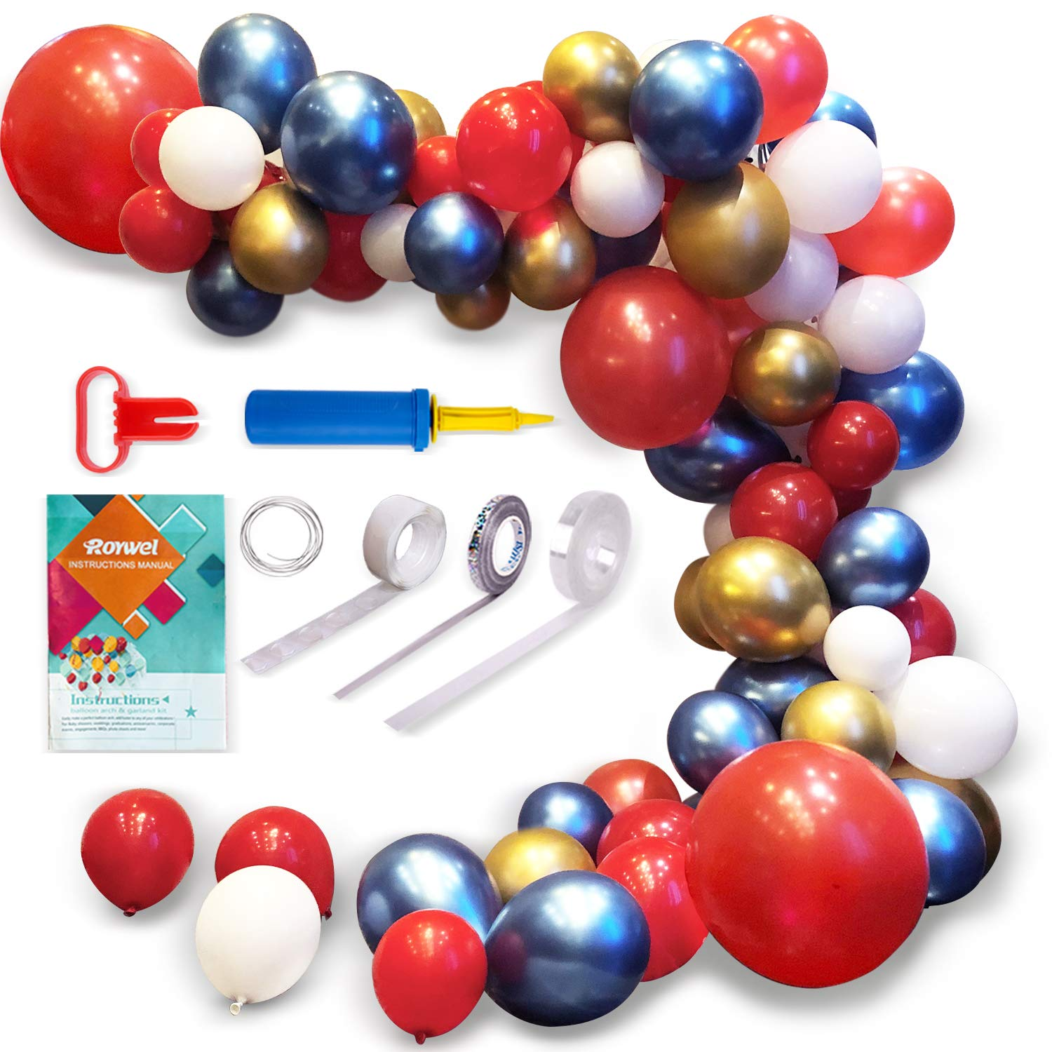 Balloons for Parties,Garland Latex Balloon Arch Ganland Kit 95 Pieces | Red | Blue | Gold | White Balloons for Baby Showers, Weddings, Graduations, Corporate Events, Engagements