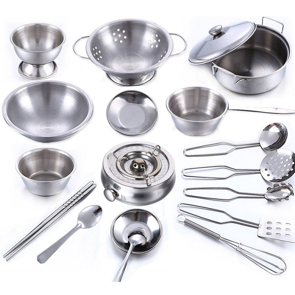 18Pcs Stainless Steel Kids House Kitchen Toy Cooking Cookware Children Pretend & Play Kitchen Playset TUEU Store BHBAZUALIn184
