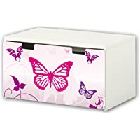 matching to the children/'s storage bench STUVA of IKEA 90 x 50 cm Furniture Not Included STIKKIPIX Football Furniture Film Furniture sticker with butterfly Motive BT03