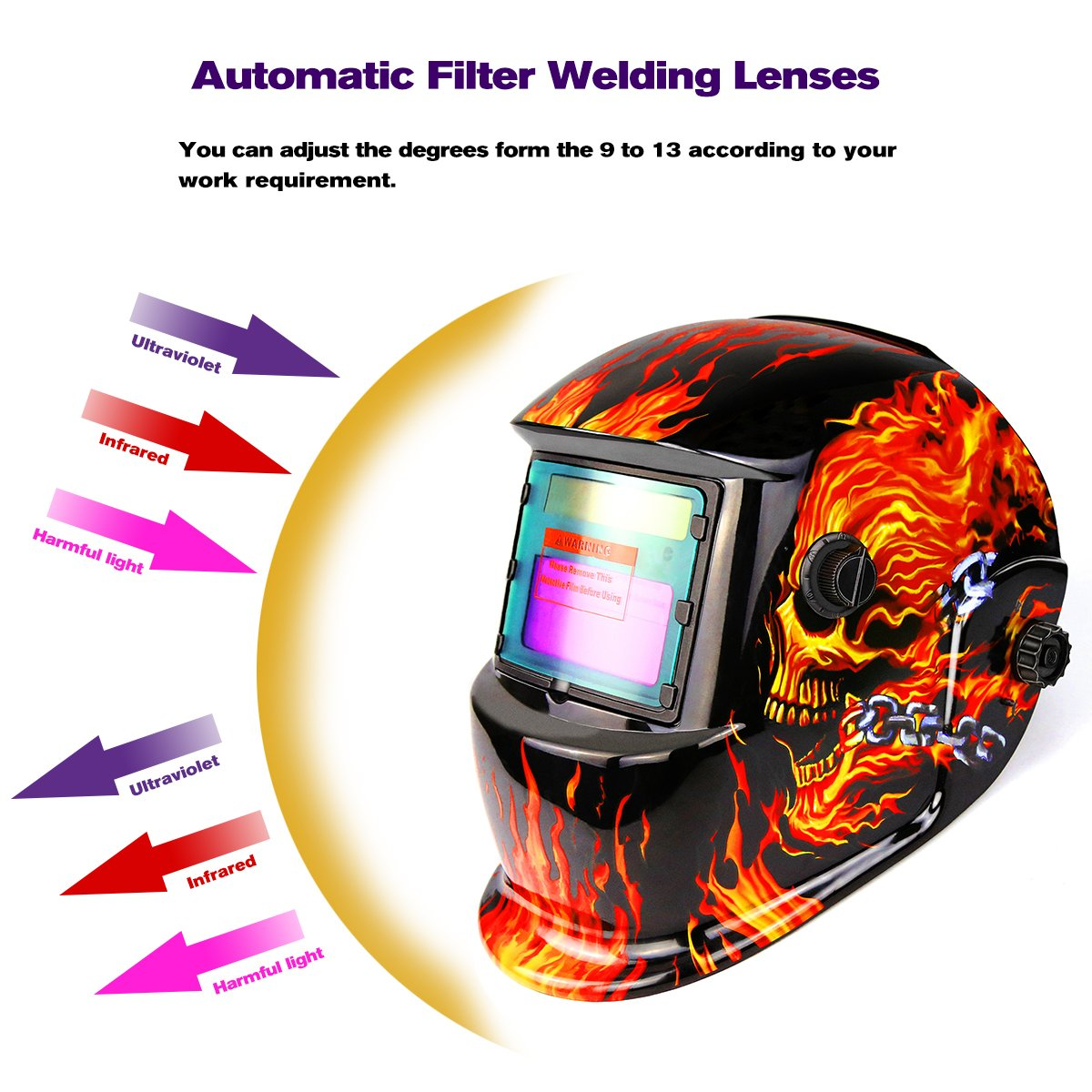 Solar Powered Welding Helmet Auto Darkening Professional Hood with Wide Lens Adjustable Shade Range by DEKOPRO (Image #7)