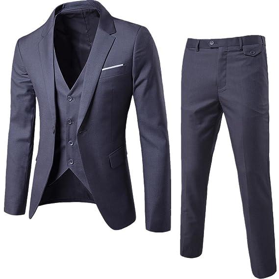 Traje de hombre Slim fit con un sólo botón solapa ropa chaqueta ...
