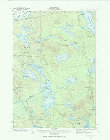 Historical Updated 1970 1932 21 x 16.5 in 1:62500 Scale YellowMaps Nicatous Lake ME topo map 15 X 15 Minute