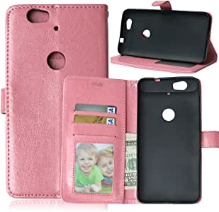 Yhuisen Solid Color Premium PU Leather Wallet Magnetic Buckle Design Flip Folio Protective Case Cover with Card Slot/Stand for Huawei/Google Nexus 6P(2015) (Color : Pink)