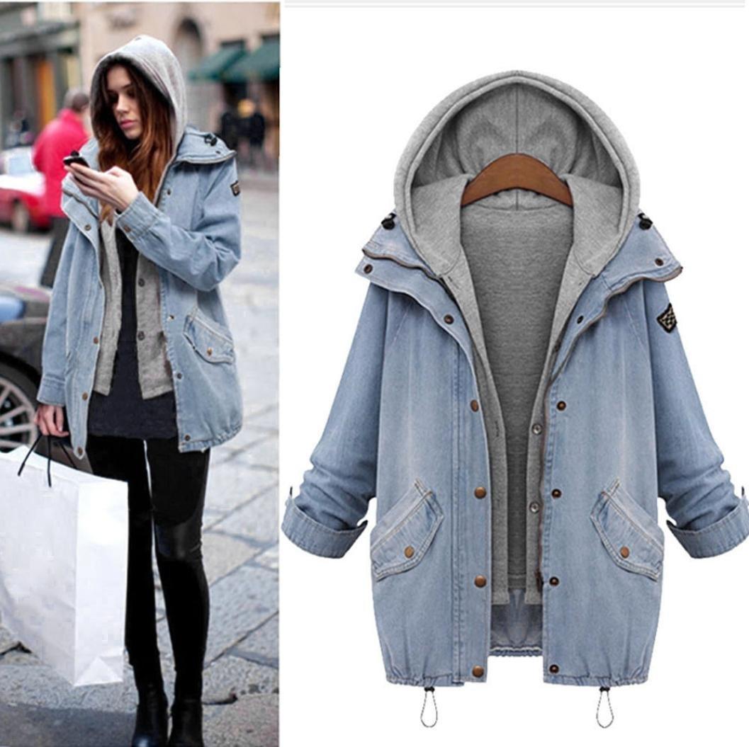Femmes Veste en jean Manteau Automne Hiver 2 En 1 Amovible Mode Loisir Encapuchonn/é Parka Outwear Bande /élastique GongzhuMM XXL