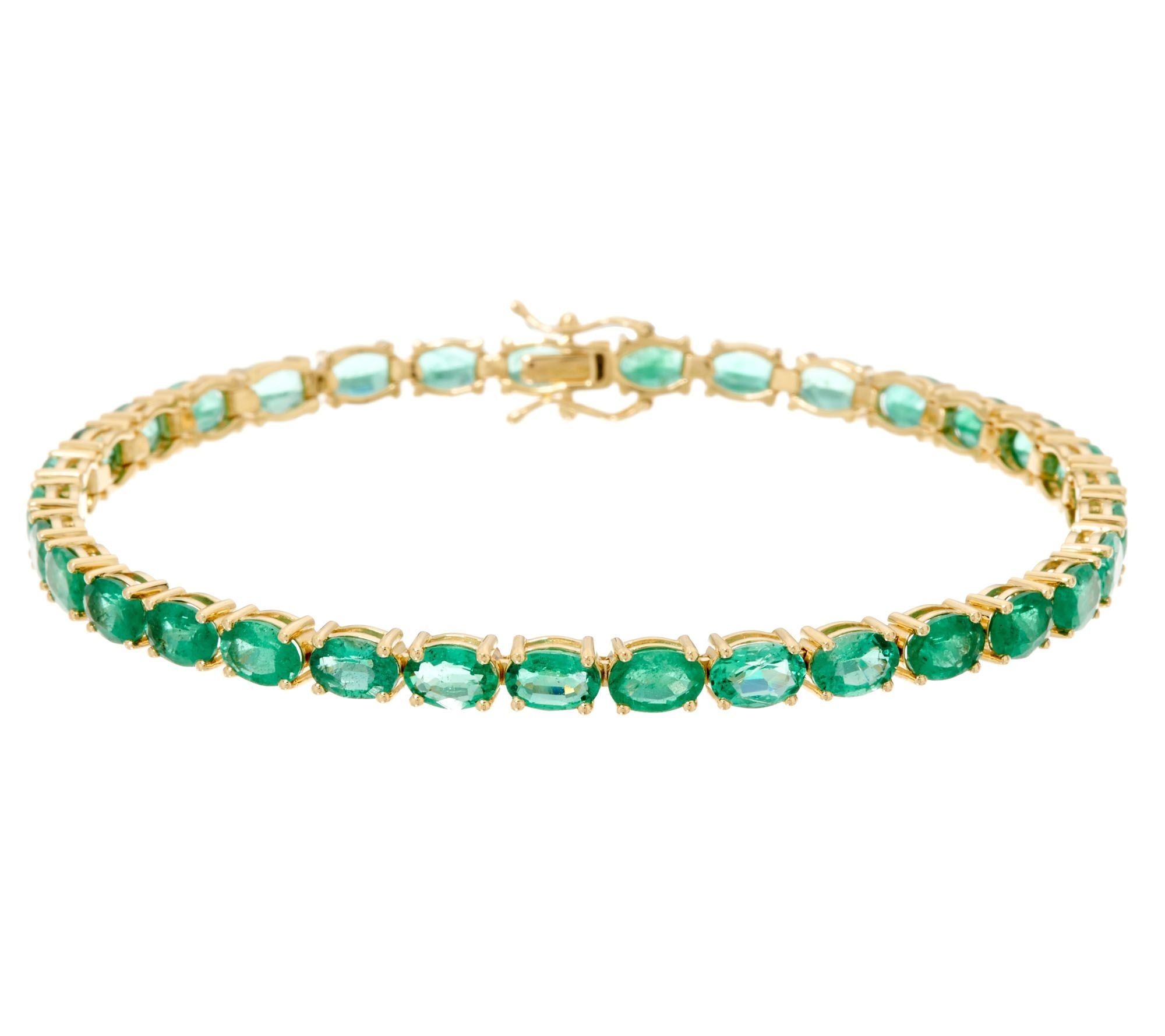 Smjewels Prong-Set Oval Cut Green Emerald Tennis Bracelet 14K Yellow Gold Plated Sterling