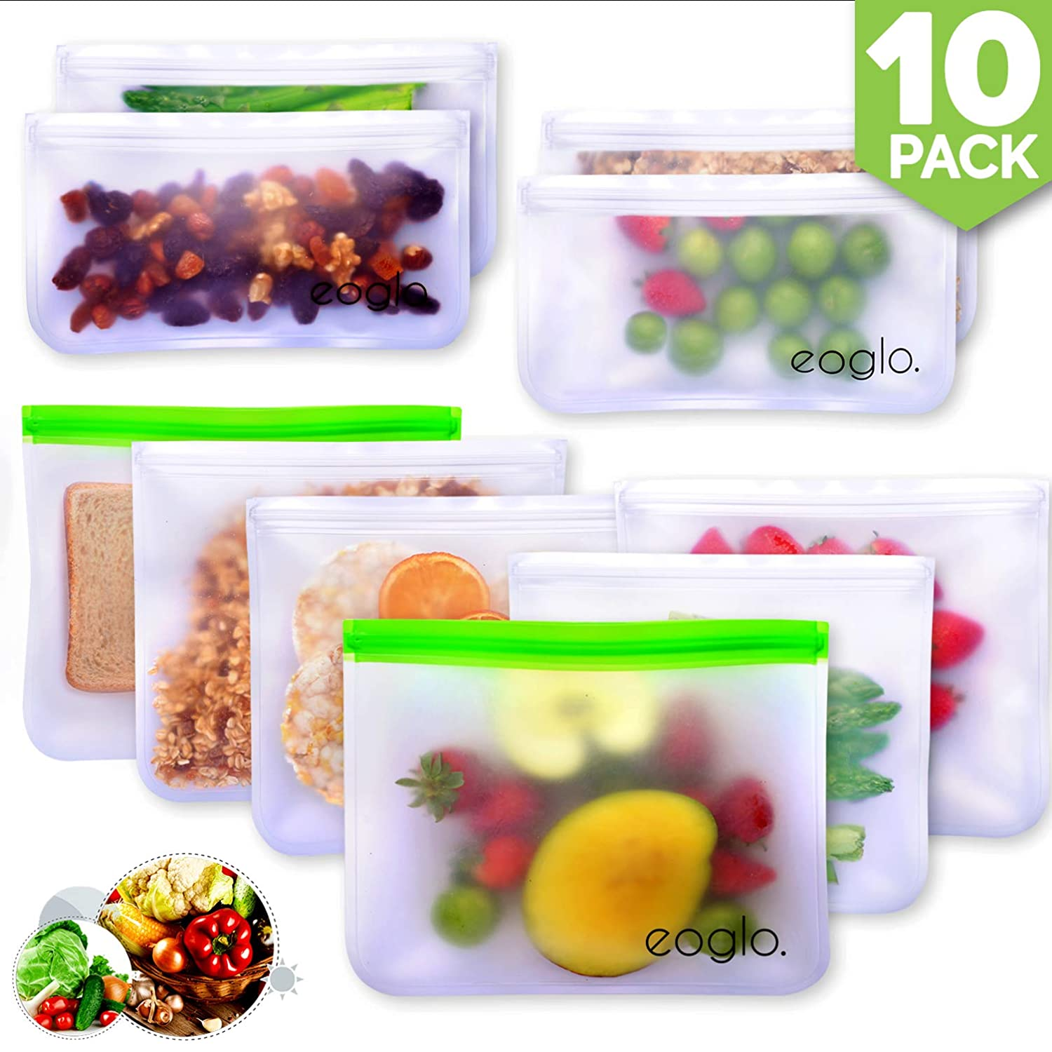 innokitchen Reusable Storage Bags (10 Pack) | To Go + Store + Freeze | Lunch Sandwiches | Kids Food | Snacks and Fruits | Travel Toiletries | EXTRA THICK | LeakProof | Resealable | BPA Free