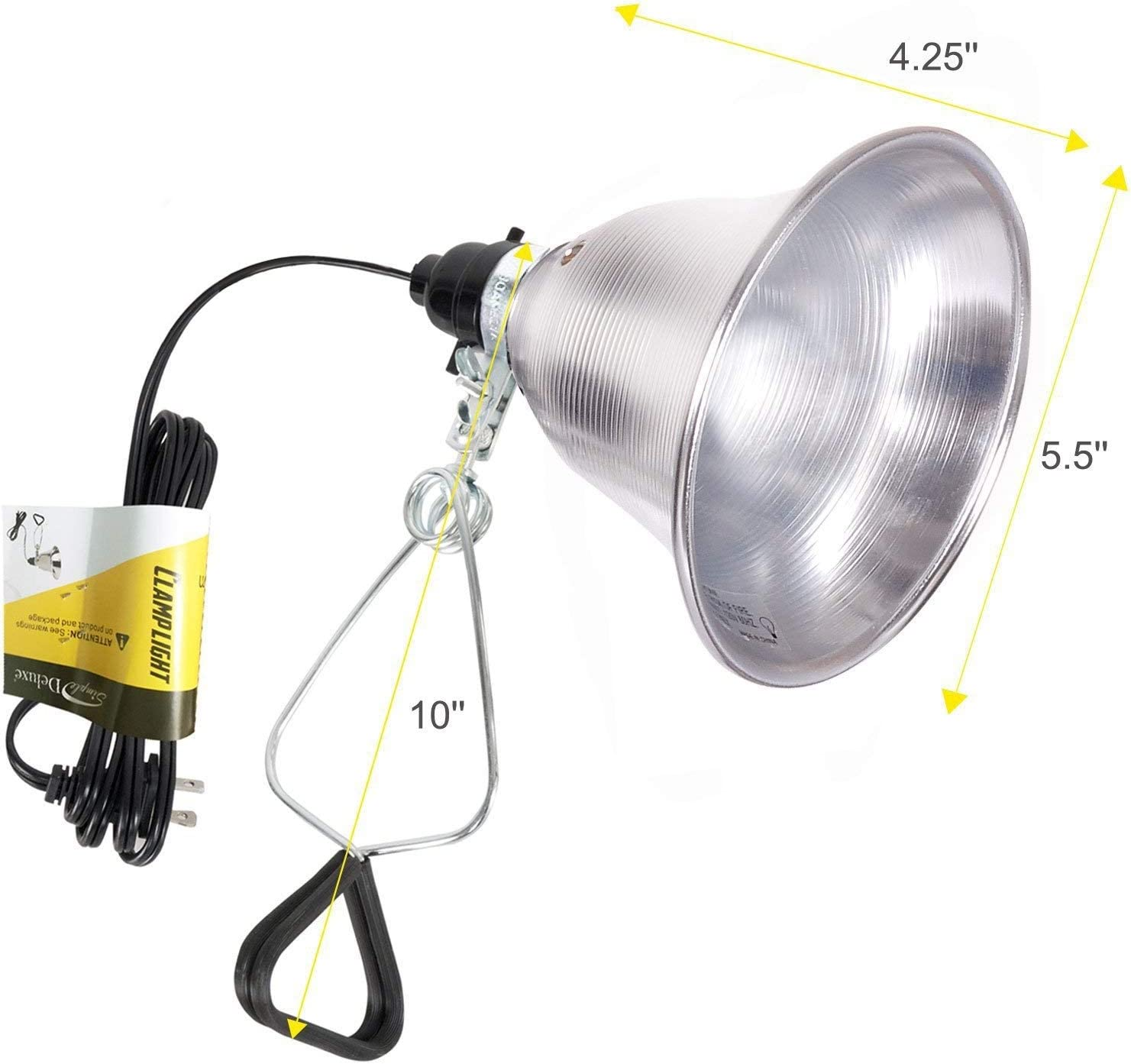 6 Feet 18//2 SPT-2 Cord UL Listed HIWKLTCLAMPLIGHTMX12 Simple Deluxe 12-Pack Clamp Lamp Light with 8.5 Inch Aluminum Reflector up to 150 Watt E26 Socket no Bulb Included