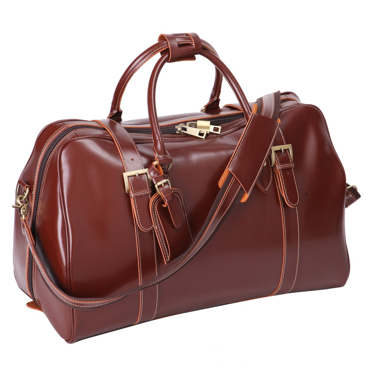 0134b98612d Leathario Mens Genuine Leather Overnight Travel Duffle Weekend Bag