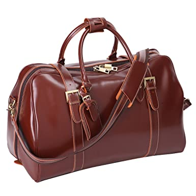 4a45880756 Leathario Mens Genuine Leather Overnight Travel Duffle Weekend Bag  (Brown-142)